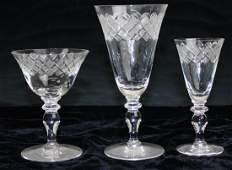 18 pcs signed Hawkes cut glass stemware incl. 5 wines,