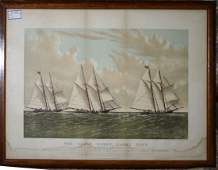 "Currier and Ives  litho ""The Great Ocean Yacht Race"""