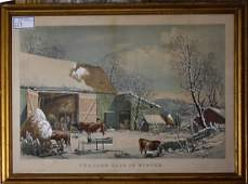 Currier and Ives large folio The Farm Yard in winter