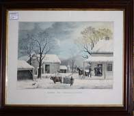 Currier and Ives lg folio litho Home to Thanksgiving