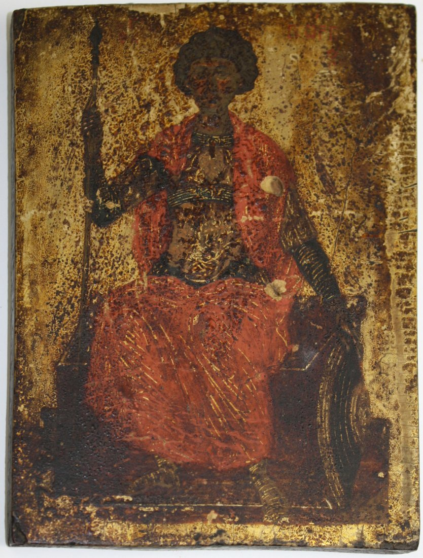 19th c St George w/ shield & sword (seated) icon