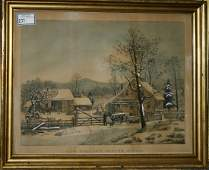 Currier and Ives large folio New England Winter Scene