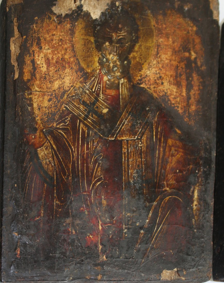 18th c Greek icons painted on gessoed wooden panels-