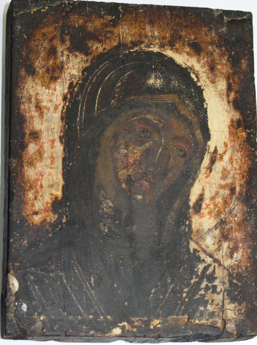 18th c Greek icons painted on gessoed wooden panels- - 2