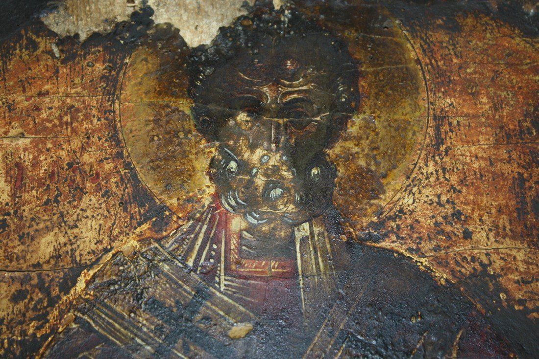 18th c Greek icons painted on gessoed wooden panels- - 4