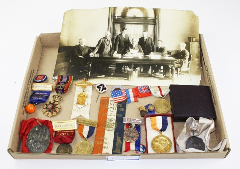 1930's-1940's Richard W Lawrence photo& medals- various