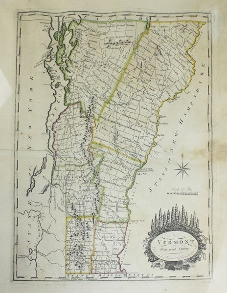 """1795 Amos Doolittle """"Vermont from Actual Survey""""-"""