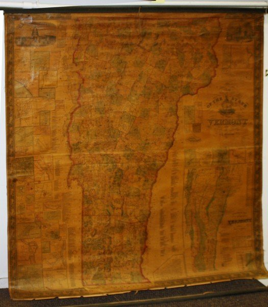"""1857/ 1860 Walling """"Map of the State of Vermont"""" w"""