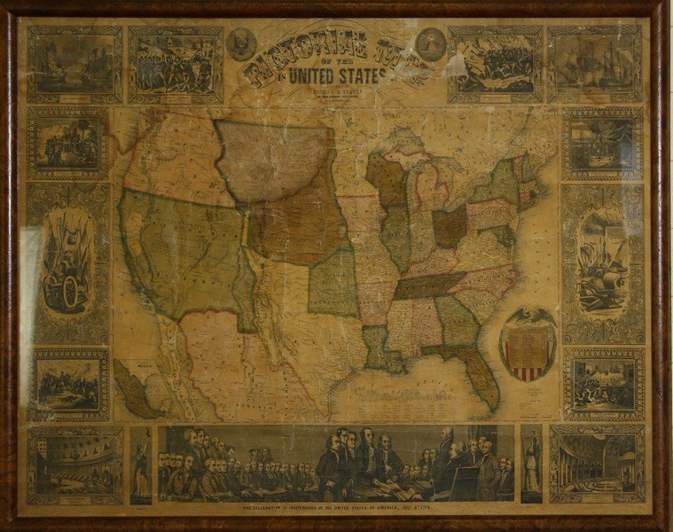 """1847 Ensigns & Thayer """"Pictorial Map of the United"""