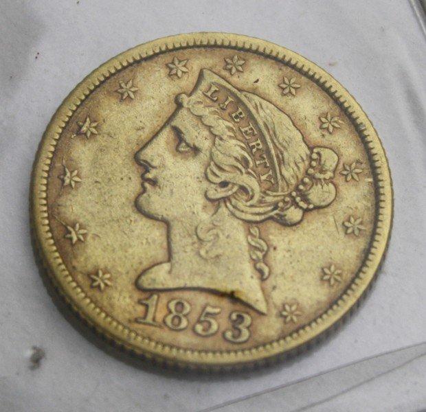 United States 1853 $5 dollar Liberty Head gold half