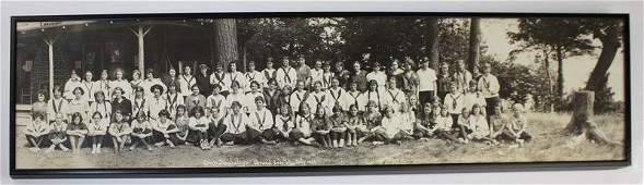 Framed McAllister panoramic photo of female campers at