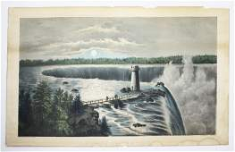19th c Currier & Ives prints- Magic Lake, Haunted