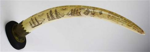 1908 scrimshaw Indian elephant tusk w/ whaling scenes &