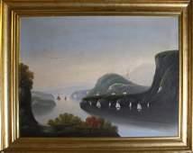 19th C Hudson River School landscape- West Point on