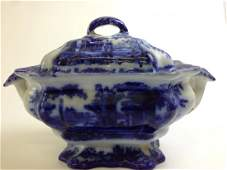 19th c  English Flow Blue covered  soup tureen with