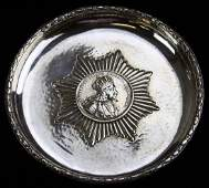 H Schaper hand hammered 835 silver tray w/ inset coin,