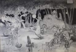 Denis Pierard Lagas- illustration of fairies in revelry