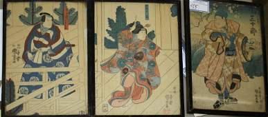 three 18th c Edo period Japanese Ukiyoe woodblock