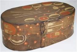 Scandanavian/ Germanic paint decorated oval band box w/