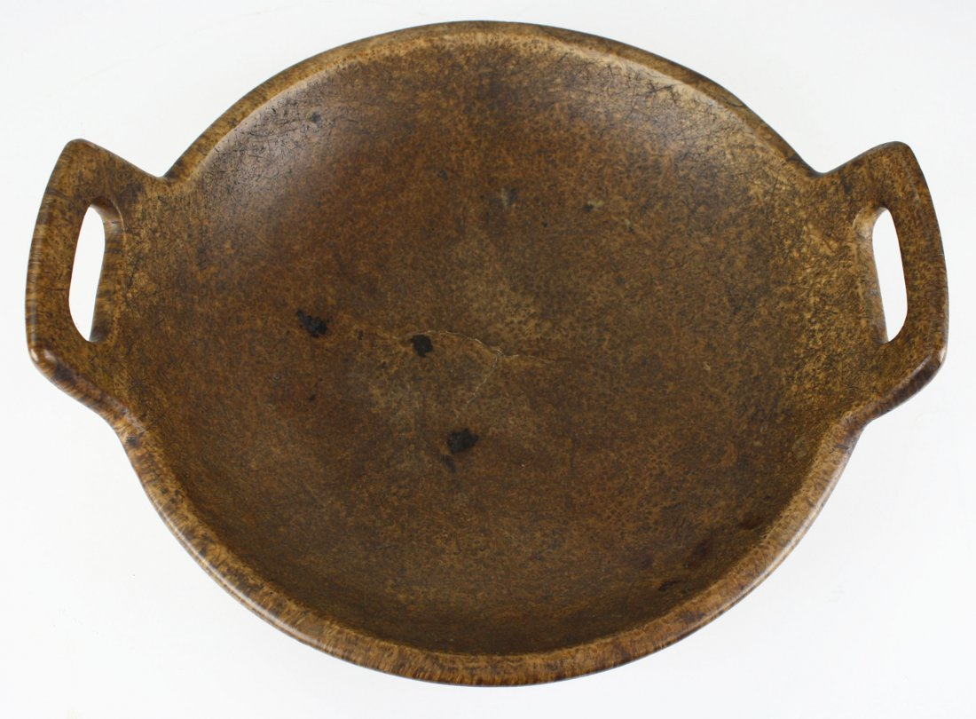 late 18th c/ early 19th c turned wooden burl bowl with