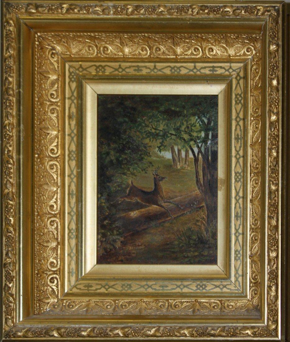 George Bailey Hopkins (Vermont 1854-1894) Deer Jumping