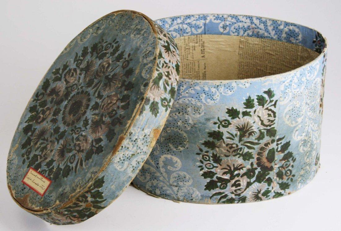 19th c Hannah Davis (1784-1863) wallpapered band box