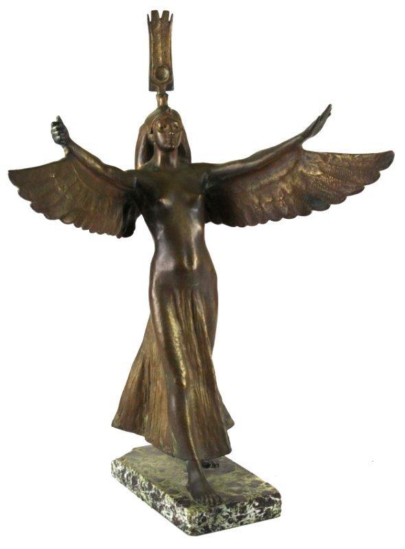 Francis Edwin Elwell (1858-1922) bronze winged statue