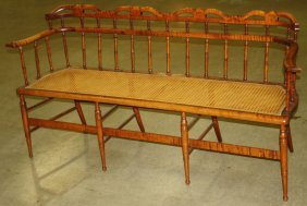 Fancy Sheraton Curly Maple Cane Seat Settee, Flared