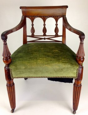 Pair Of Sheraton Mahogany Reeded Leg Arm Chairs,