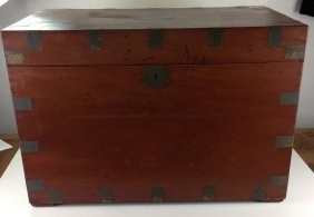 19th C Sea Chest, Mahogany, Dovetailed And Metal Bound