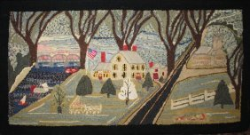 Folky 1940's Addison County, Vt Hooked Rug With View Of