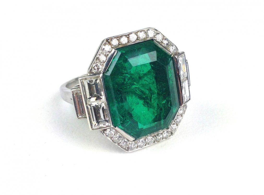 Platinum Art Deco natural emerald step cut ring