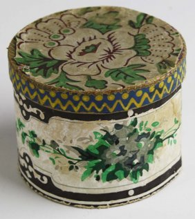 Early 19th C Miniature Wallpapered Box With Lid, Dia