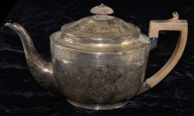 19th C English Sterling Silver Tea Pot. Hallmarked