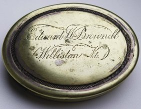 Mid 19th C Oval Silver Plated Snuff Box Engraved Edward