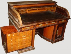 Wooton Type Roll Top Desk Labeled D.s. Rickaby Quebec
