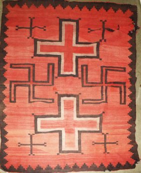Early 20th C Navajo Blanket W/ Crosses & Two Tumbling