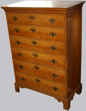 Chippendale Maple Six Drawer High Chest With Graduated