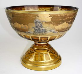 Egermann Czechoslovakian Art Glass Footed Centerpiece