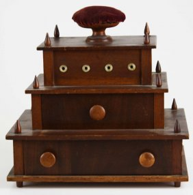 """Mid 19th C Shaker 2 Drawer Sewing Stand, 9"""" X 6"""" X 9"""""""