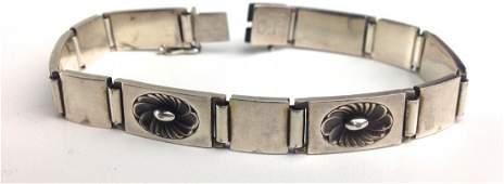 Signed Georg Jensen sterling panel bracelet.
