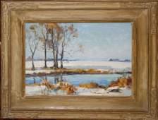 20th c American School oc winter landscape 12 x 16 in