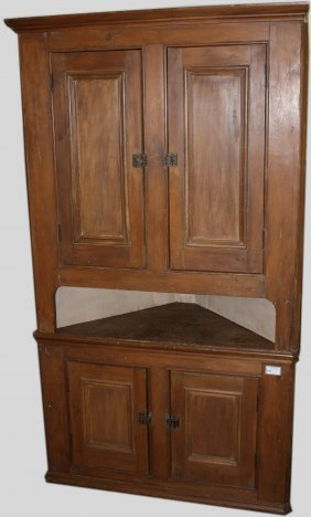 Quebec Pine Two Part Corner Cupboard Having Two Drawers
