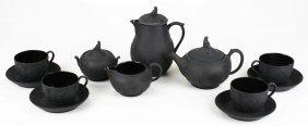 12 Pc Wedgwood Black Basalt Pottery Tea Set Incl. Four
