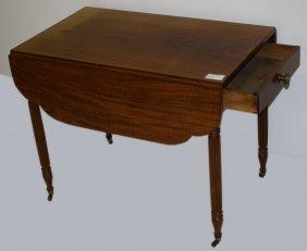 "36"" Sheraton Mahogany Pembroke Table, 1 Drawer, Reeded"
