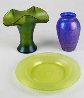 Art Nouveau Era Iridescent Art Glass Ruffled Edge Vase,