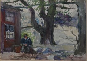 Virginia Gruppe (american 1907-1980) In The Shade Of