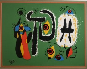 Joan Miro (spanish 1893-1983) Abstract Lithograph