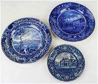 three deep blue Historical Staffordshire plates with