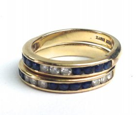Pair 14k Channel Set Diamond And Sapphire Bands Having